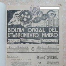 Libros antiguos: RARO BOLETIN OFICIAL DEL ESTABLECIMIENTO MINERO DE ALMADEN. AÑOS 30. VARIOS NÚMEROS ENCUADERNADOS. W. Lote 277166483