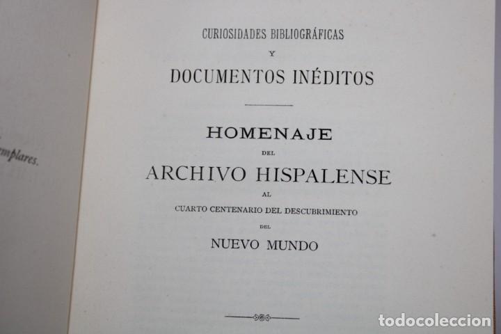 Libros antiguos: 1892 HOMENAJE DEL ARCHIVO HISPALENSE AL CUARTO CENTENARIO DEL DESCUBRIMIENTO DEL NUEVO MUNDO - Foto 4 - 277177023