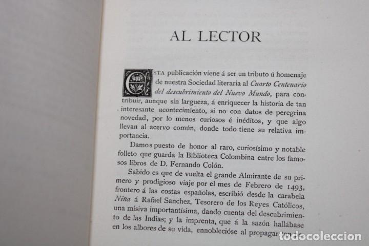 Libros antiguos: 1892 HOMENAJE DEL ARCHIVO HISPALENSE AL CUARTO CENTENARIO DEL DESCUBRIMIENTO DEL NUEVO MUNDO - Foto 7 - 277177023