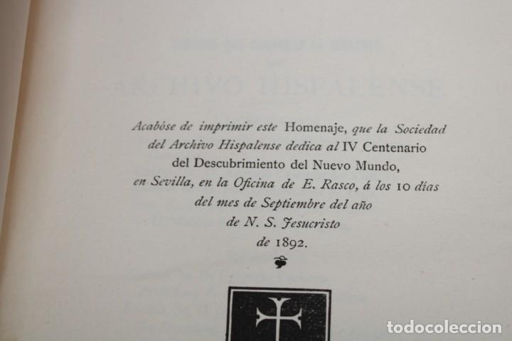 Libros antiguos: 1892 HOMENAJE DEL ARCHIVO HISPALENSE AL CUARTO CENTENARIO DEL DESCUBRIMIENTO DEL NUEVO MUNDO - Foto 12 - 277177023