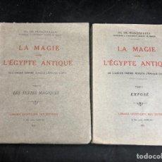 Libros antiguos: LA MAGIE DANS L'EGYPTE ANTIQUE. DE L'ANCIEN EMPIRE JUSQU'À L'ÉPOQUE COPTE 2 TOMOS 1925 FRANÇOIS LEXA. Lote 277219928