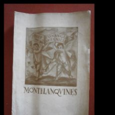 Libros antiguos: MONTBLANQUINES. IMPRESSIONS. TIPOS I COSTUMS POPULARS. J. CONANGLA I TONTANILLES. Lote 277223253