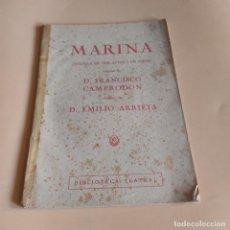 Libros antiguos: MARINA. ZARZUELA EN DOS ACTOS. D.FRANCISCO CAMPRODON. 61 PAGS.. Lote 277244963