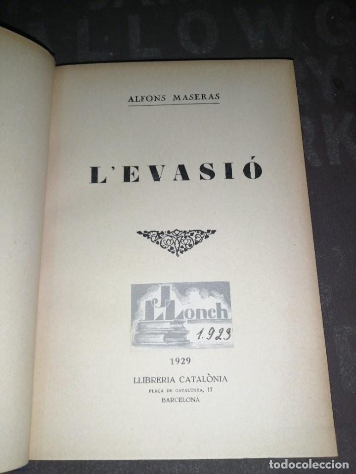 ALFONS MASERAS : L' EVASIÓ - 1929 (Libros Antiguos, Raros y Curiosos - Literatura - Otros)
