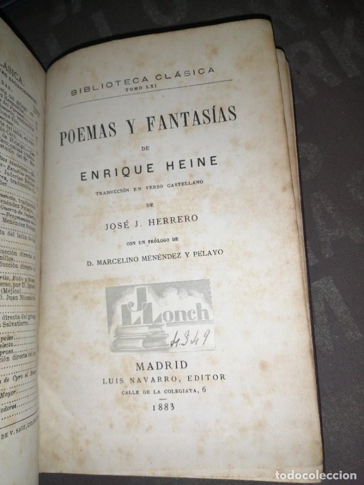 ENRIQUE HEINE - POEMAS Y FANTASÍAS 1883, LUIS NAVARRO EDITOR (Libros antiguos (hasta 1936), raros y curiosos - Literatura - Narrativa - Otros)