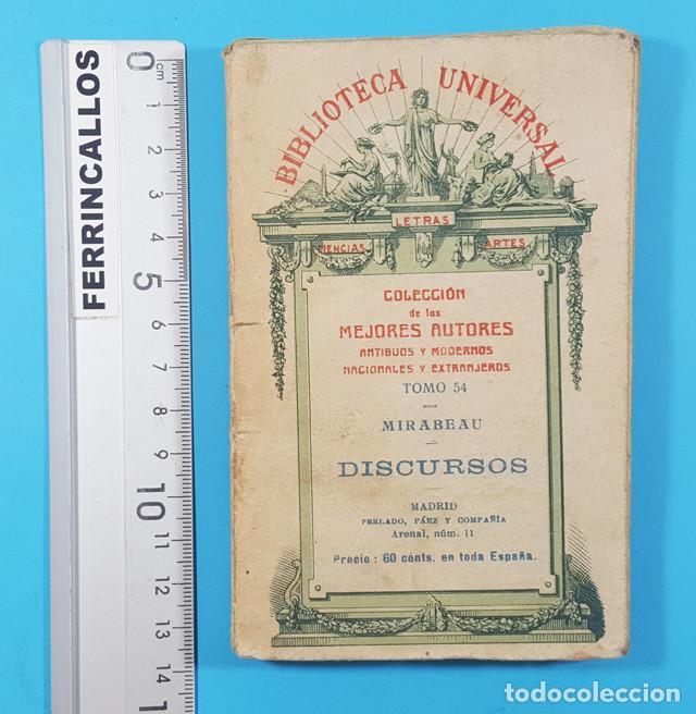 BIBLIOTECA UNIVERSAL, COLECCION MEJORES AUTORES TOMO 54: MIRABEAU DISCURSOS 1922 190 PAGINAS (Libros Antiguos, Raros y Curiosos - Literatura - Otros)
