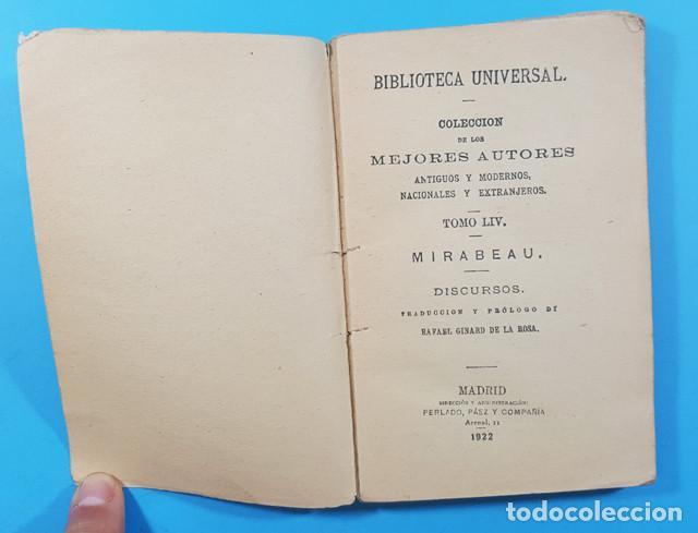 Libros antiguos: BIBLIOTECA UNIVERSAL, COLECCION MEJORES AUTORES TOMO 54: MIRABEAU DISCURSOS 1922 190 PAGINAS - Foto 3 - 278191643