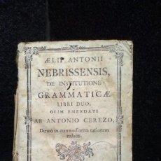 Livros antigos: AELII ANTONII NEBRISSENSIS DE INSTITUTIONE GRAMMATICAE LIBRI DUO - 1775. Lote 278318473