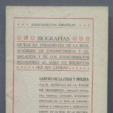 Libros antiguos: 1911.- BIOGRAFIA DE LOS EXPRESIDENTES DE LA REAL ACADEMIA DE JURISPRUDENCIA. Lote 278452358