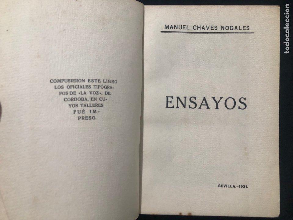Libros antiguos: Manuel Chaves Nogales. La Ciudad. Ensayos. Sevilla. 1921. Córdoba. Talleres La Voz de Córdoba. - Foto 2 - 278532558
