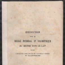 Livres anciens: INSTRUCTION POUR LE DOSAGE PONDERAL ET VOLUMETRIQUE DU BEURRE DANS LE LAIT - AMAND, ADAM. Lote 279454968