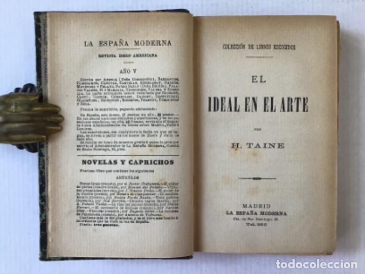 Libros antiguos: EL IDEAL EN EL ARTE. - TAINE, Hipólito. - Foto 2 - 123251147