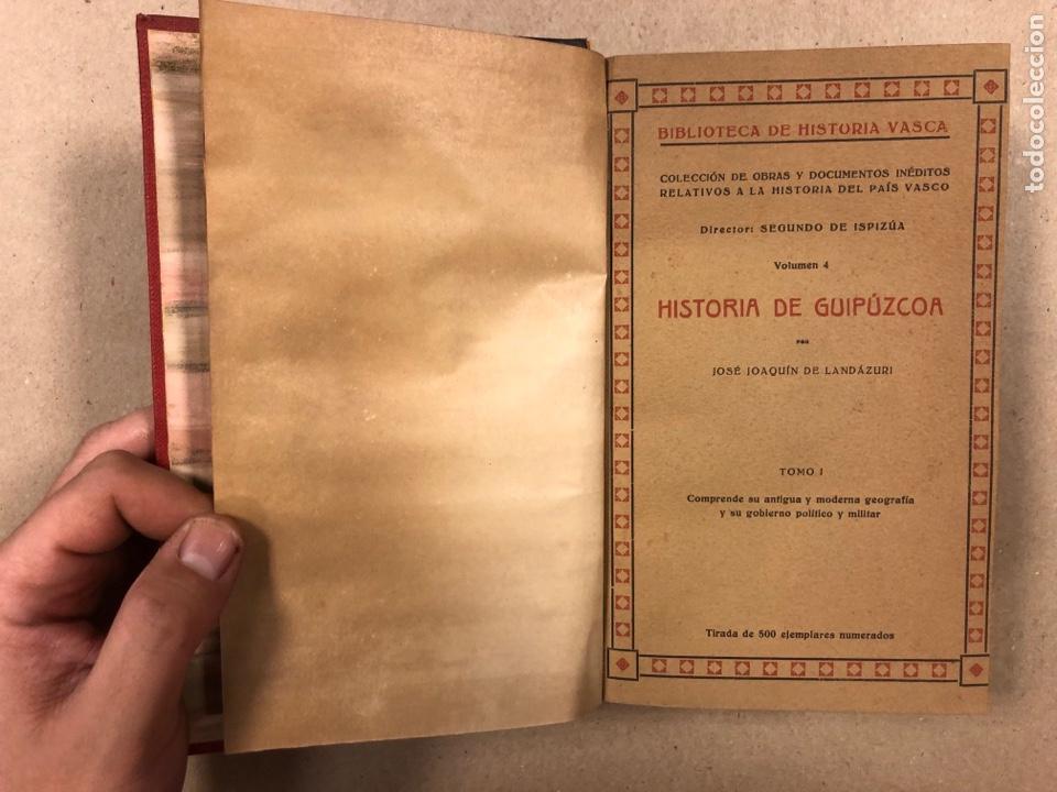 Libros antiguos: HISTORIA DE GUIPÚZCOA. JOSÉ JOAQUÍN DE LANDÁZURI. 2 TOMOS EN 1 VOLUMEN. 1921 IMP. VICENTE RICO - Foto 3 - 281937558