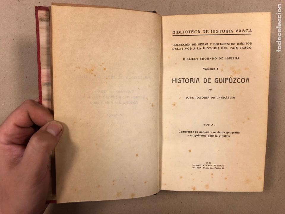 Libros antiguos: HISTORIA DE GUIPÚZCOA. JOSÉ JOAQUÍN DE LANDÁZURI. 2 TOMOS EN 1 VOLUMEN. 1921 IMP. VICENTE RICO - Foto 4 - 281937558