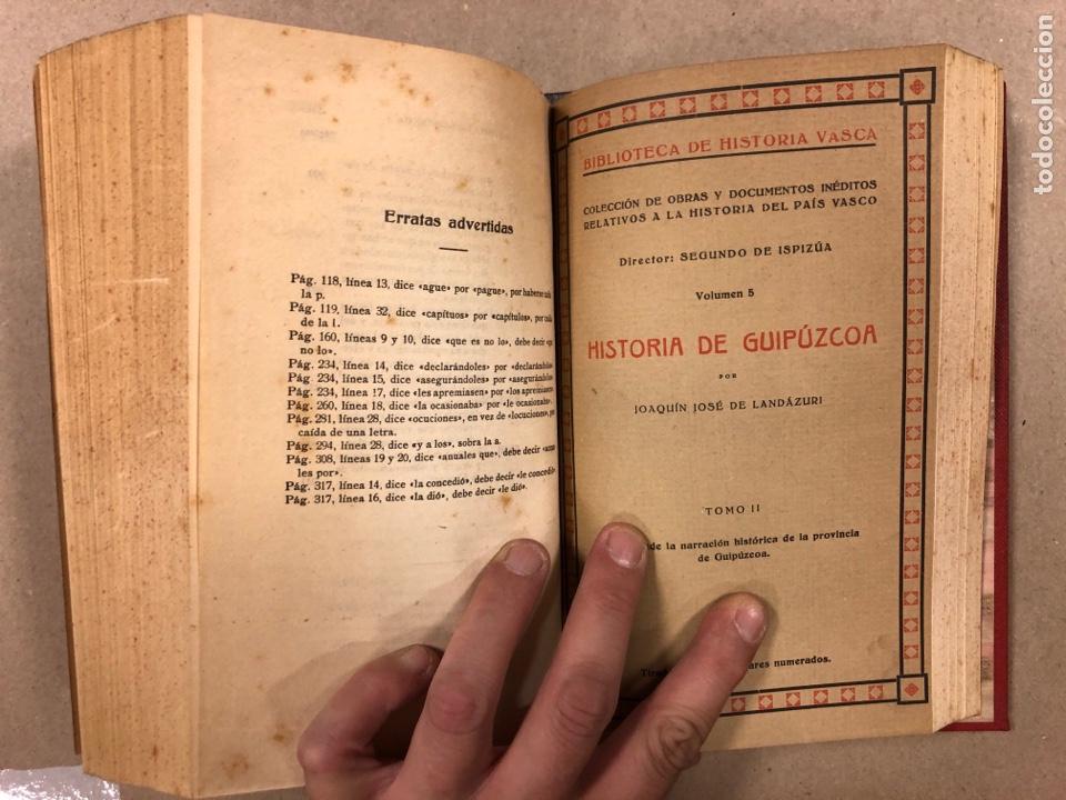 Libros antiguos: HISTORIA DE GUIPÚZCOA. JOSÉ JOAQUÍN DE LANDÁZURI. 2 TOMOS EN 1 VOLUMEN. 1921 IMP. VICENTE RICO - Foto 8 - 281937558