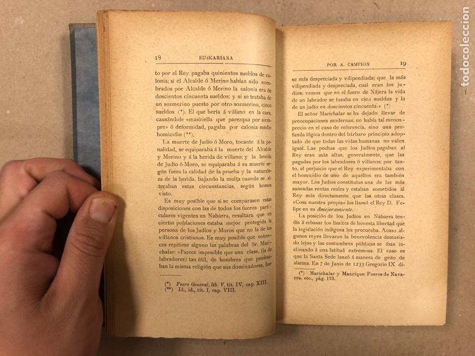 Libros antiguos: EUSKARIANA (PARTE TERCERA) ALGO DE HISTORIA. ARTURO CAMPION. Imp. y Enc. de ANDRÉS P. (1899). - Foto 6 - 281947038