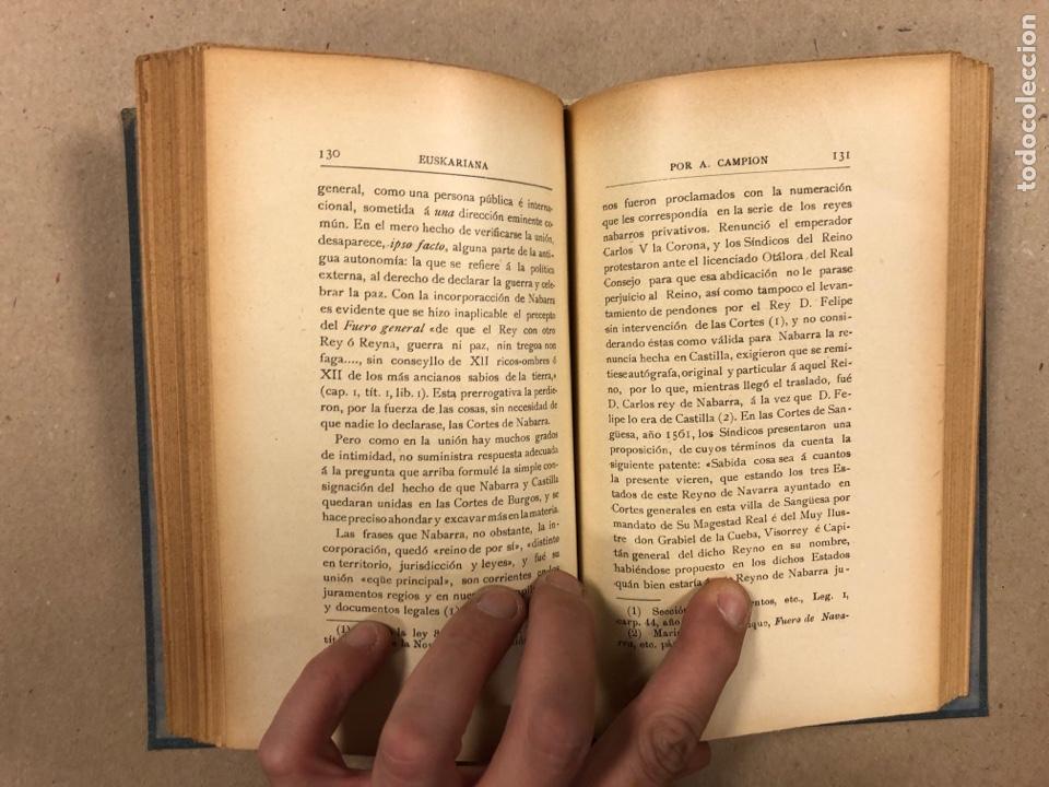 Libros antiguos: EUSKARIANA (PARTE TERCERA) ALGO DE HISTORIA. ARTURO CAMPION. Imp. y Enc. de ANDRÉS P. (1899). - Foto 8 - 281947038