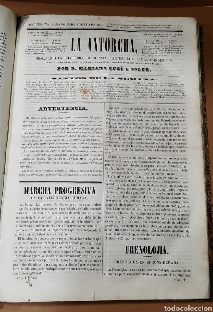 Libros antiguos: M. CUBÍ I SOLER. LA ANTORCHA. SEMANARIO ENCICLOPÉDICO. 1848-1849. DEL 1 AL 64. - Foto 5 - 283164103