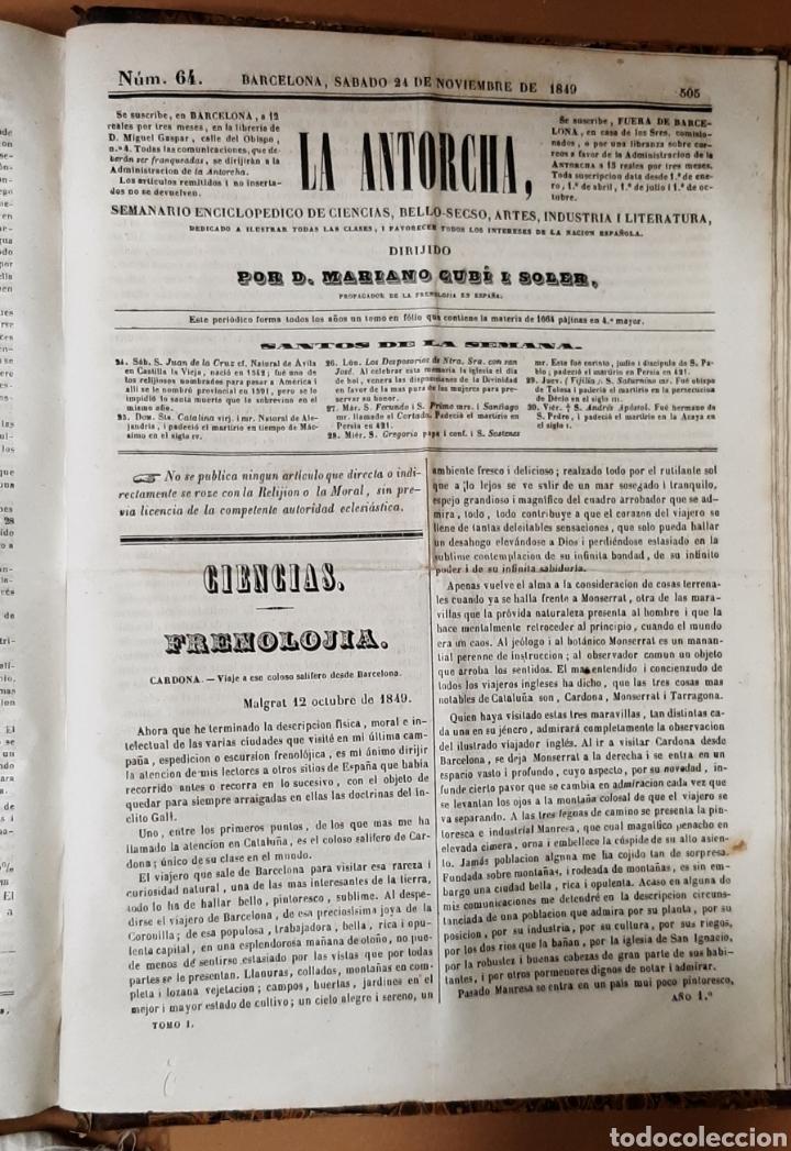 Libros antiguos: M. CUBÍ I SOLER. LA ANTORCHA. SEMANARIO ENCICLOPÉDICO. 1848-1849. DEL 1 AL 64. - Foto 7 - 283164103