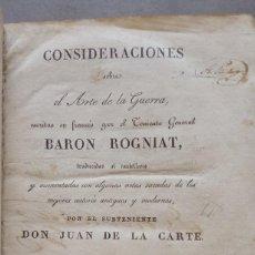 Libros antiguos: CONSIDERACIONES SOBRE EL ARTE DE LA GUERRA 1827. TENIENTE GENERAL BARÓN ROGNIAT. Lote 283452953