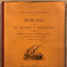 Libros antiguos: MEMORIA QUE MANIFIESTA ESTADO Y PROGESO DE OBRAS DE MEJORA DE LA RÍA Y PUERTO DE BILBAO (1931).. Lote 285319743