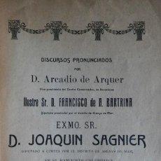 Libros antiguos: DISCURSOS DE JOAQUÍN SAGNIER. CANET DE MAR, 1910. CALDETES.. Lote 285768108