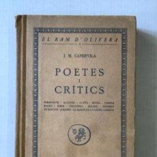 Libros antiguos: POETES I CRÍTICS. - CAPDEVILA, J. M.. Lote 285971973
