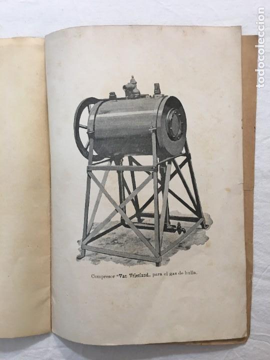 Libros antiguos: Van Vriesland. El Aerógeno. Gas obtenido por el carburador compresor. Madrid. Fortanet. 1900 - Foto 4 - 286352953