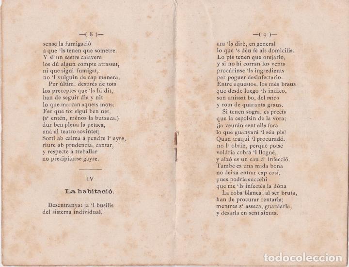 Libros antiguos: ¡GUERRA AL COLERA! INSTRUCCIONS PER COMBÀTREL, ESCRITES EN VERS – C.GUMÀ - 1884 - Foto 2 - 286454823