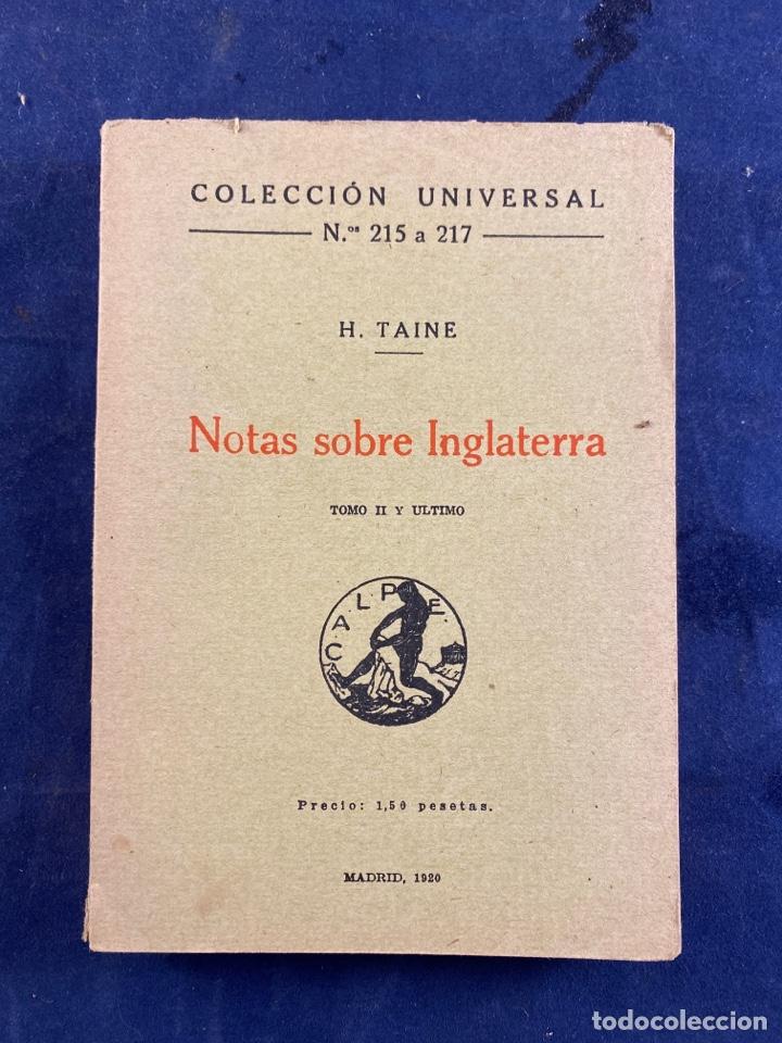 NOTAS SOBRE INGLATERRA (Libros Antiguos, Raros y Curiosos - Literatura - Otros)