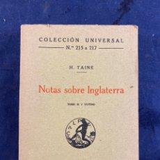 Libros antiguos: NOTAS SOBRE INGLATERRA. Lote 286805948