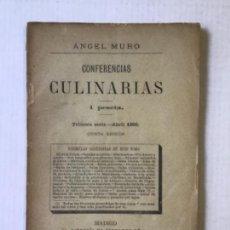 Libros antiguos: CONFERENCIAS CULINARIAS. TOMO 1. - MURO, ANGEL.. Lote 123222211
