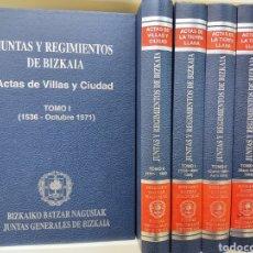 Libros antiguos: JUNTAS Y REGIMIENTOS DE BIZKAIA 5VOLS ACTAS DE VILLAS Y CIUDAD / ACTAS DE LA TIERRA LLANA PAIS VASCO. Lote 287547918