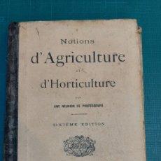 Libros antiguos: 1818 NOTIONS AGRICULTURA Y HORTICULTURA PARIA FRANCIA. Lote 287687588