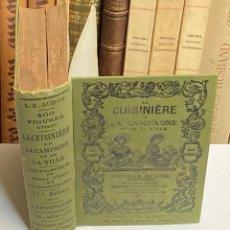 Libros antiguos: AÑO 1899 - LA CUISINIERE DE LA CAMPAGNE ET DE LA VILLE COUSINE ECONOMIQUE POR AUDOT - COCINA LIBRO. Lote 287757493