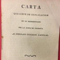 Libros antiguos: CARTA QUE SIRVE DE EXPLICACION DE LO REPRESENTADO POR LA JUNTA DE FARMACIA, CADIZ 1811. Lote 287840663