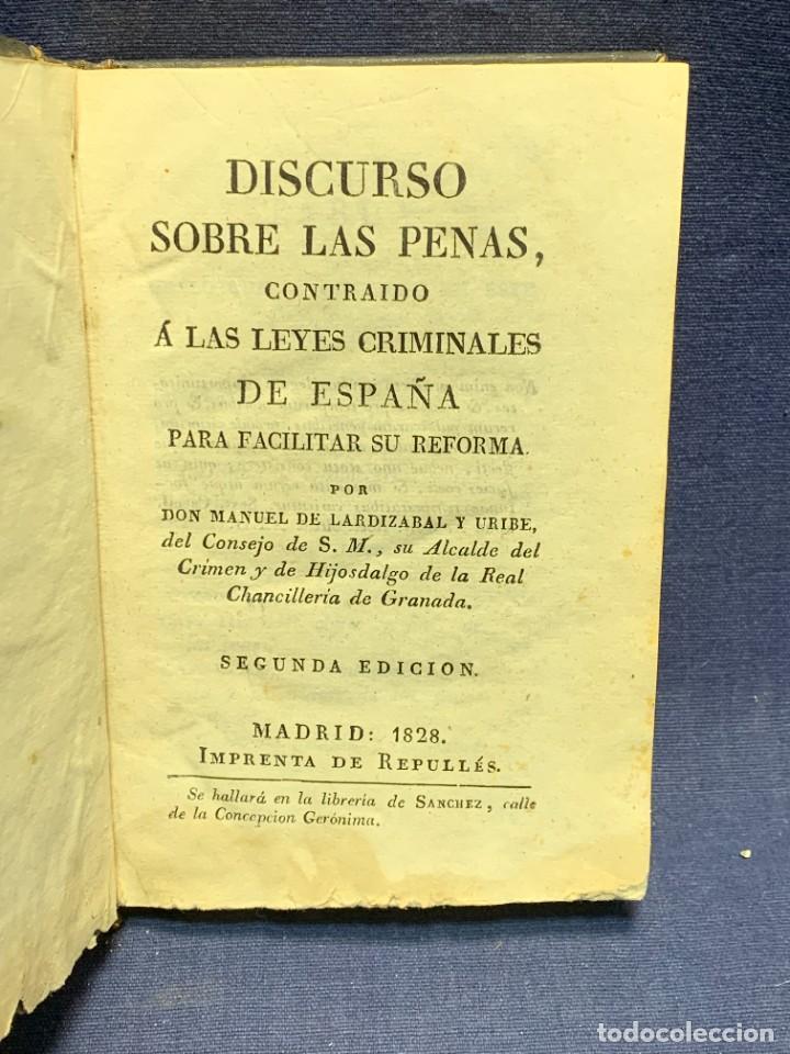DISCURSO SOBRE LAS PENAS MANUEL DE LARDIZABAL Y URIBE 2ª EDICION 1828 15X10X3CMS (Libros Antiguos, Raros y Curiosos - Literatura - Otros)
