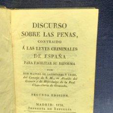 Libros antiguos: DISCURSO SOBRE LAS PENAS MANUEL DE LARDIZABAL Y URIBE 2ª EDICION 1828 15X10X3CMS. Lote 287916708