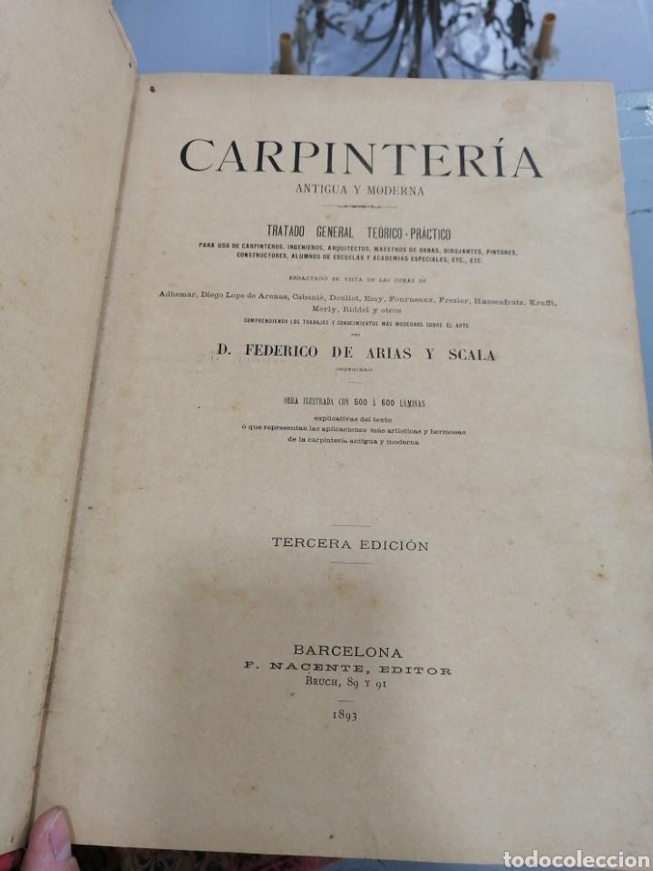 Libros antiguos: Tomos Carpinteria antigua y moderna 1893 - Foto 2 - 287930838