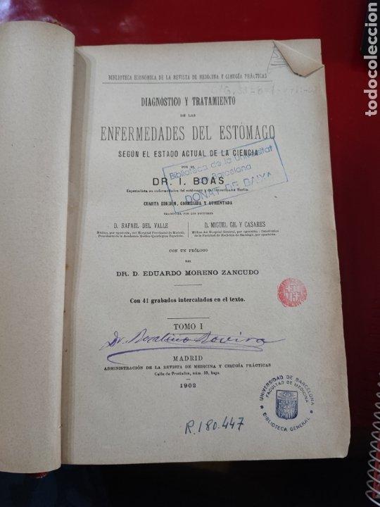 Libros antiguos: Libro universidad ENFERMEDADES DEL ESTOMAGO , con grabados , Madrid 1902 , ref 139 - Foto 3 - 288005998