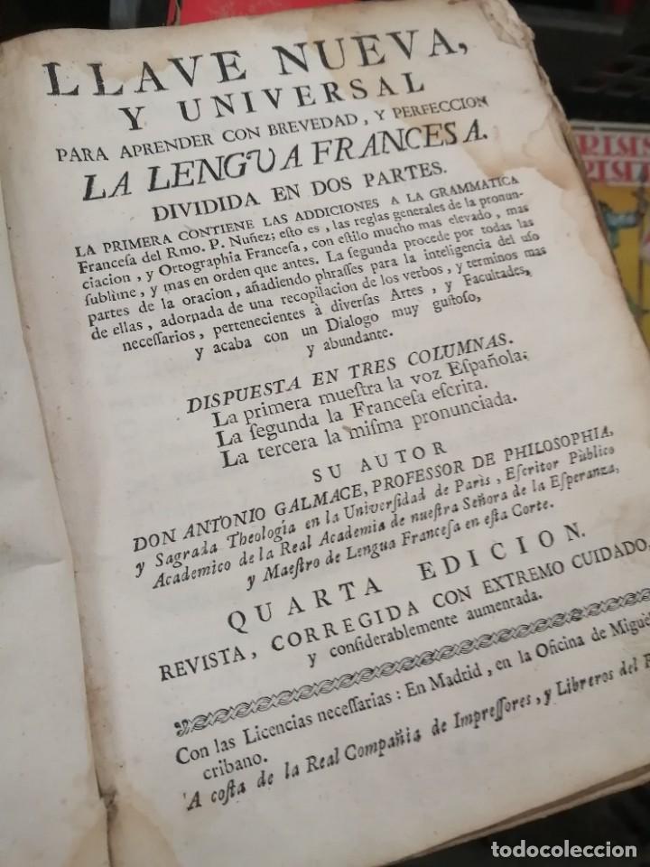 Libros antiguos: llave nueva y universal para aprender con brevedad y perfeccion la lengua francesa 1753 - Foto 3 - 288141798