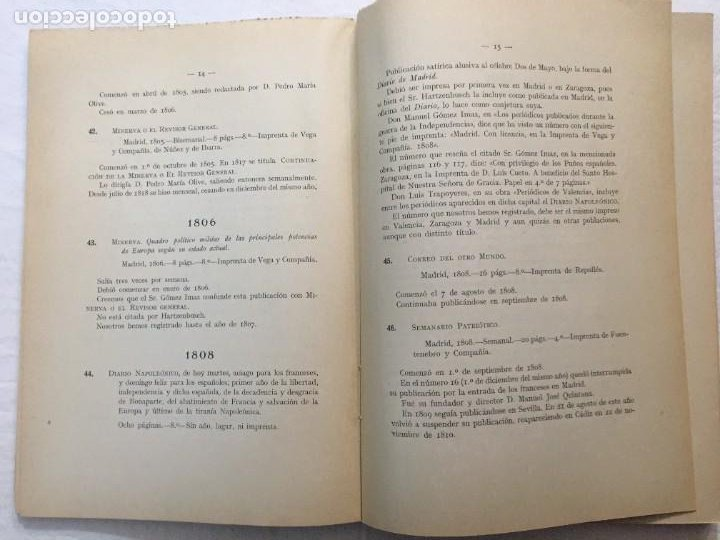 Libros antiguos: Memoria y Catálogo de las Publicaciones Periódicas Madrileñas Hemeroteca Municipal. 1928. - Foto 3 - 288390708