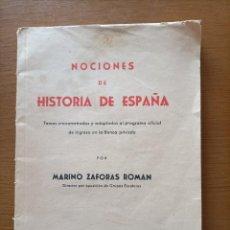Libros antiguos: NOCIONES DE HISTORIA DE ESPAÑA. Lote 288489603