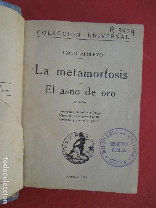LA METAMORFOSIS O EL ASNO DE ORO - L. APULEYO - COL. UNIVERSAL - CASINO AFRICANO - 1920. (Libros antiguos (hasta 1936), raros y curiosos - Literatura - Narrativa - Otros)