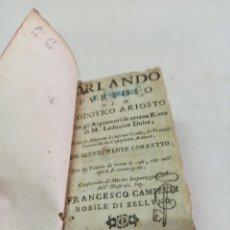 Libros antiguos: LIBRO EN MINIATURA ITALIANO: ARIOSTO: ORLANDO EL FURIOSO, 1730 2 TOMOS EN UN VOLUMEN SIN TAPA. Lote 288639723