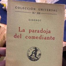 Libros antiguos: LA PARADOJA DEL COMEDIANTE. Lote 288641898