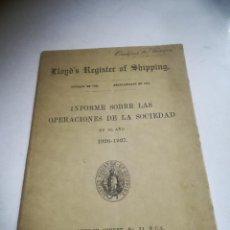 Libros antiguos: INFORME SOBRE LAS OPERACIONES DE LA SOCIEDAD. 1926-1927. LONDRES. FENCHURCH STREET. RÚSTICA. Lote 288863673