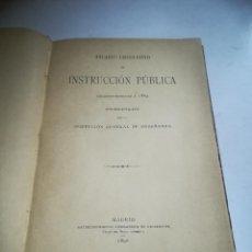 Libros antiguos: ANUARIO LEGISLATIVO DE INSTRUCCIÓN PÚBLICA. 1889. MADRID. TIP RICARDO FÉ. 217 PÁG. TAPA DURA. Lote 288863798
