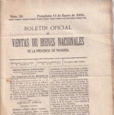 Libros antiguos: DESAMORTIZACIÓN. VENTA DE BIENES PROVINCIA DE NAVARRA. 1884. ESTELLA Y AOÍZ. Nº 20. Lote 289359368