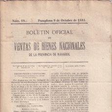 Libros antiguos: DESAMORTIZACIÓN. VENTA DE BIENES PROVINCIA DE NAVARRA. 1883. PAMPLONA Y AOÍAZ. Nº 18. Lote 289359898